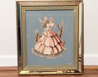 Vintage Turner Southern Belle Air Brush Watercolor Painting Signed in Mirror original Frame, Shabby Chic Picture, Vintage Turner painting