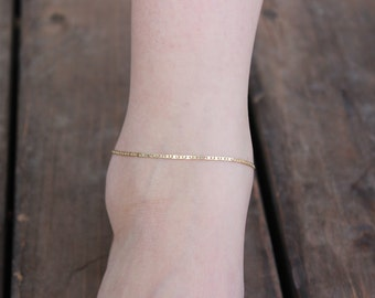 SOPHIA GOLD ANKLET, Thin Gold Chain Anklet, Stackable