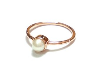 Gold Pearl Ring-14K Gold Pearl Ring-Rose Gold Ring-Handmade Rose Gold Pearl Ring