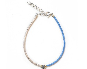Blue Delicate minimalist seed bead bracelet with a star in Sterling silver