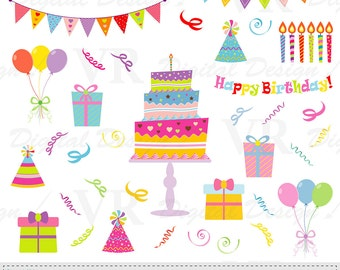 Birthday Clip Art, Happy Birthday Instant Digital Download Scrapbooking Clipart, Birthday Vector Clip Art, Birthday Cake Clipart