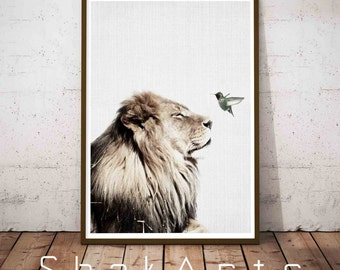 Lion Print, Safari Baby Shower Animal Poster, Rustic Woodland Nursery Art Decor, Kids Room Wall Art Decor, Printable Safari Animal Poster