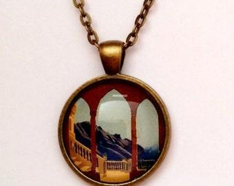 Vintage Mediterranean Travel Poster Necklace, Bronze or Silver