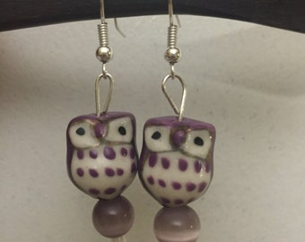 Adorable Ceramic Owl Earrings - Purple Owl - Pink Owl - Green Owl - Fashion Earrings - Ceramic Owl Earrings - Owl Earrings With Beads -