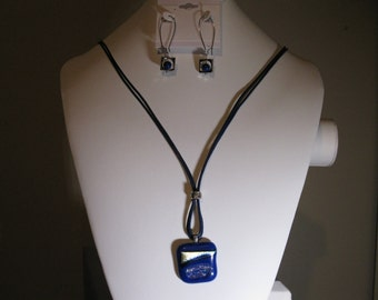 Dichroic Glass necklace and earrings