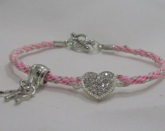 Braided Pink Bracelet with Silver Heart - option to personalize