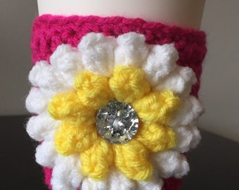 Spring Flower Cup Cozy | Travel Cup | Sleeve | Crochet | Handmade | Great Gift