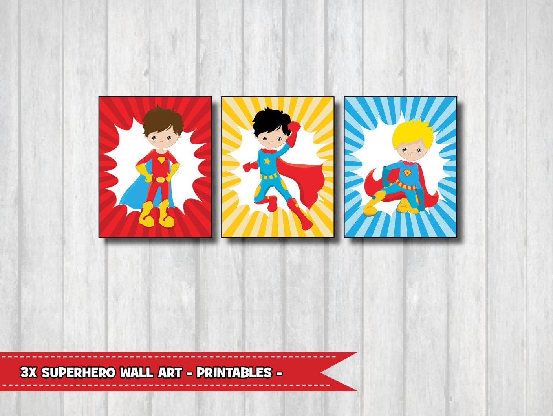 Superhero wall art set of 3 printable playroom decor for Superhero wall art
