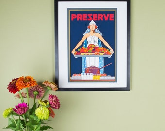 Preserve Poster - Vintage Canning Poster Reproduction - Columbia carrying a huge platter of Fruits and Vegetables