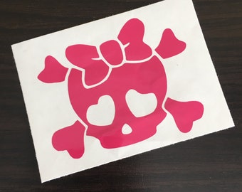 Cute Skull and Crossbones Car Decal (Multiple color options)