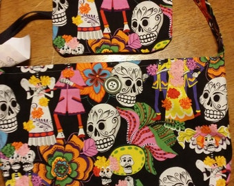 Handmade Day of the Dead Purse with Matching Wristlet