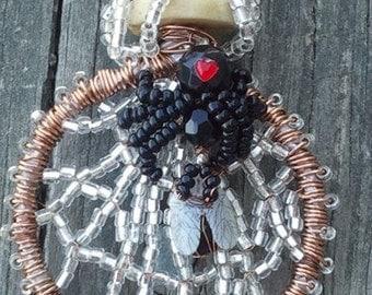 OOAK... Boo-tac-ulair Black Widow Spider Necklace