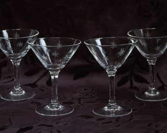"4 Vintage 50s Etched Quartex ""Stardust"" Mini Martini Glasses - Mid Century Atomic Barware"
