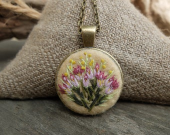 Embroidered necklace.Flowers pendant.Miniature Embroidery.Love jewelry gift.Rustic wedding.Felt jewelry.Bridesmaid necklace.Gift for Women