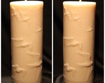 Large Soy Pillar Candle - Flock of Birds Design
