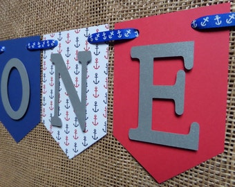 Red One Banner, Red & Blue Happy 1st Birthday Banner, Blue High Chair Banner, Boy I am 1 Banner, Nautical Birthday Banner, Boy Banner