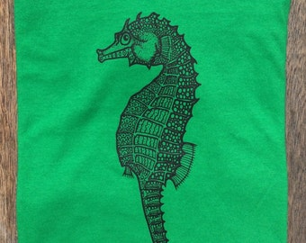 Seahorse t-shirt, kids' Small, original design, 100% cotton, black print on green