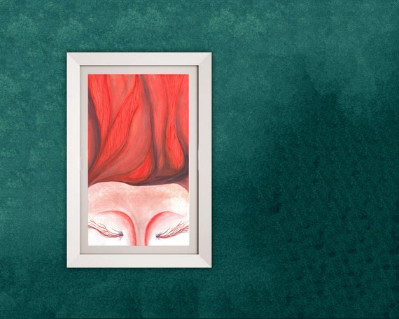 watercolor painting - RED HAIR WOMAN; colorful, abstract, contemporary bohemian; Giclee premium print
