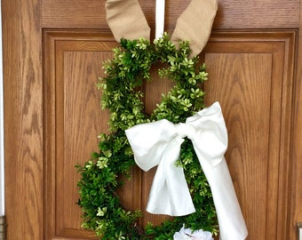 Easter Bunny Boxwood Wreath Easter decorations Front Door wreath grapevine wreath