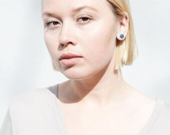 Patterned modern simple hand made earrings / Minimalist blue studs / polymer and silver / modern gift contemporary style minimalist fashion