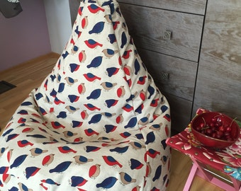 Beanbag chair cover| Bean bag cover| Natural fabrics beanbag| Chair cover shape pear| Kids seating| Large beanbag chair| Great Birthday gift