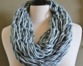 Multi Colored Mint Double Loop Arm Knit Infinity Scarf