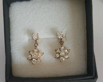 Diamond Cluster Flower Earrings