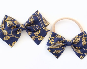 Rifle Paper & Co. , Les Fleurs,  baby girl, Fabric Bow, Newborn Bows, Toddler Bows, Hand tied Bows, Queen Anne-Navy (metallic)