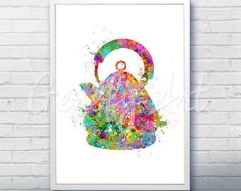Vintage Kettle Watercolor Art Print  - Vintage Kettle Watercolor Art Painting -Kitchen Poster - Kitchen Decor - House Warming Gift