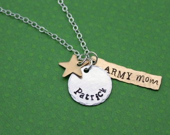 Army Mom Necklace Army Wife Army Girlfriend Mixed Metal Necklace Army Sister Proud Army I love My Soldier Military Wife Name Necklace
