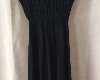 Medium Embroidered Black and Tan Dress