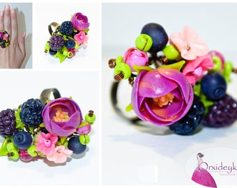 Berry ring Polymer clay berry Ranunculus ring Berry jewelry Polymer clay jewelry Polymer clay ring Purple flower ring Gift for sister ring