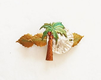 Palm tree & Sand dollar French Hair Barrette
