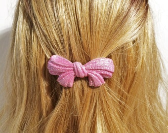 French Barrette Sparkle Pink Bow