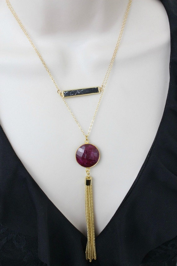 layered necklace long necklace ruby necklace statement. Black Bedroom Furniture Sets. Home Design Ideas