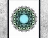 Modern Minimal Print, Mandala Wall Art, Blue and Green, Geometric Line Art, Abstract Art, Printable Download, Digital Print, Wall Decor