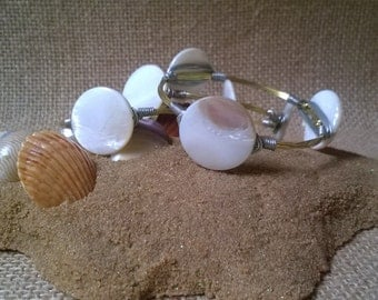 Mother of Pearl Mixed Metal Bangles, Wire Wrapped Bracelets, Bangle Bracelets, Gifts for her