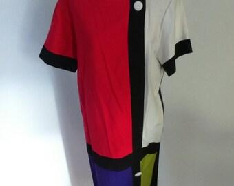 60s Style Mondrian Dress color blocking