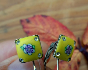Everyday flower earrings dangle yellow earrings with flower gift for girlfriend coworker gift christmnas