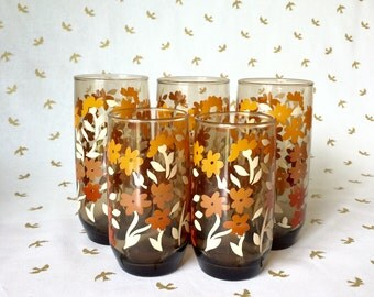 5 Retro Drinking Glasses with Flowers