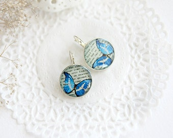 Butterflies earrings for girl Art butterfly jewelry for women gift for nature lover leverback earrings summer gift romantic earrings blue