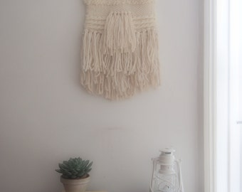 Made to Order: Large woven wall hanging in cream and natural wood, Scandinavian, modern rustic weaving  >>Bespoke options available<<
