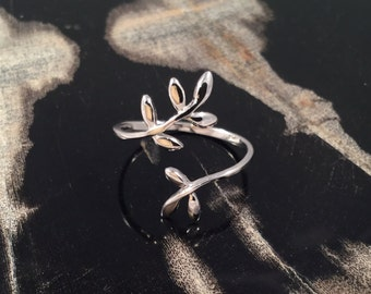 Olive Leaf Adjustable Ring Sterling Silver Delicate Branch Ring Handmade Open Ring Metalwork Ring Twig Jewelry