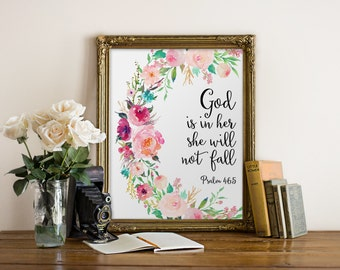 Bible Verse Wall Art, God Is In Her She Will Not Fall, Nursery Print Decor, Scripture Prints, Scripture Art, Christian Wall Art, Psalm 46:5