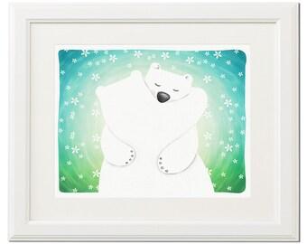 White polar bear love hug-Digital download-Instant download-Art print-Poster-Kids illustration-Nursery-Wall decor-Original drawing