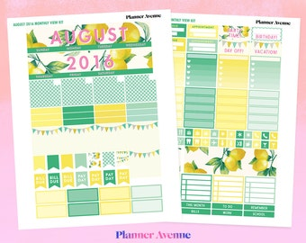 August Monthly Kit, Printable Planner Stickers, August Monthly View Kit, August Stickers, Monthly Stickers, Summer Planner Sticker Kit, ECLP