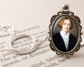 George Eliot Pendant Necklace - George Eliot Jewelry, Mary Ann Evans Pendant, Vintage Victorian Novelist Necklace, George Elliot Jewellery