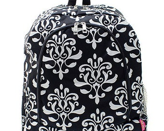 Monogrammed Black Bloom Damask Backpack Personalized Gift