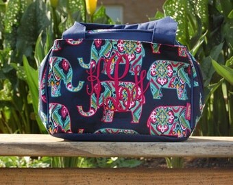 Embroidered Elephant Print Lunch Bag-Personalized Lunch Bag-Monogram Lunch Bag-Embroidered Elephant Lunch Bag