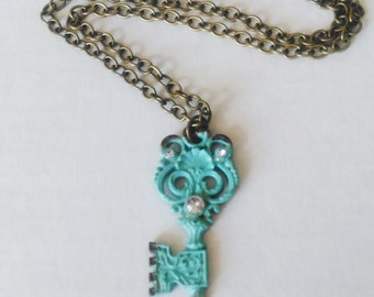 KEY NECKLACE, Turquoise Key Necklace, Key Charm, Key Jewelry, Statement Jewelry, Bohemian Pendant, Boho Jewelry, Key to My Heart Necklace